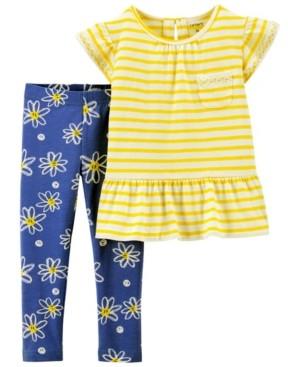 Carter's Toddler Girls 2 Piece Daisy Jersey Tee Legging Set