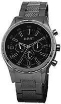 August Steiner Men's AS8105BK Swiss Quartz Multifunction Black Dial Gun Bracelet Watch