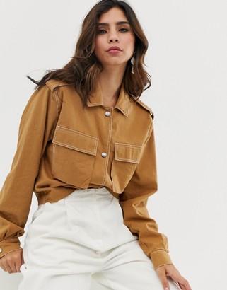 Vila utility cropped jacket-Tan