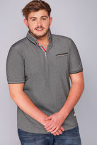 Yours Clothing D555 Grey Edric Polo With Tipped Collar - TALL