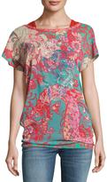 Fuzzi Short-Sleeve Ruched Tulle Top, Pink Pattern