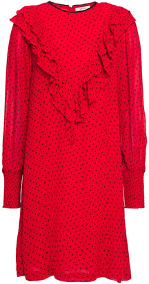 Ganni Mullin Ruffled Printed Georgette Mini Dress