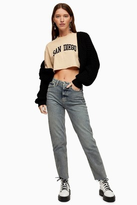 Topshop Dirty Blue Wash Straight Jeans