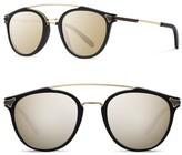 Shwood Men's Kinsrow 49Mm Acetate & Wood Sunglasses - Black/ Gold Mirror