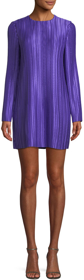 Tibi Long-Sleeve Jewel-Neck Plisse Mini Cocktail Dress