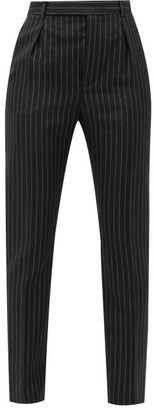 Saint Laurent Metallic-pinstripe Wool-blend Trousers - Black Silver