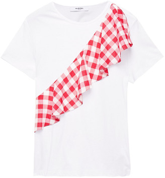 Marysia Swim Ruffled Gingham Jacquard-trimmed Cotton-jersey T-shirt
