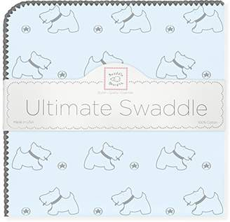 Swaddle Designs Ultimate Winter Swaddle, X-Large Receiving Blanket, Made in USA, Premium Cotton Flannel, Gray Doggie on Pastel Blue (Mom's Choice Award Winner)