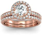 Ice 1 1/2 CT TW Diamond 14K Rose Gold Halo Ring Bridal Set
