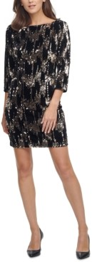 Eliza J Velvet Sequined Shift Dress