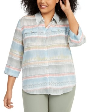Alfred Dunner Plus Size Chesapeake Bay Printed Button-Front Top