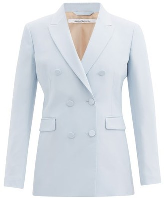 Another Tomorrow - Double-breasted Wool Grain De Poudre Jacket - Womens - Light Blue