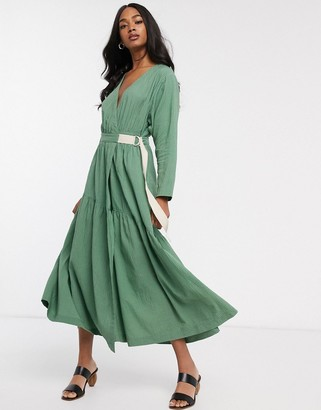 Asos DESIGN textured wrap maxi dress
