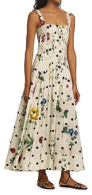 Thumbnail for your product : Oscar de la Renta Floral Pleated A-Line Maxi Dress