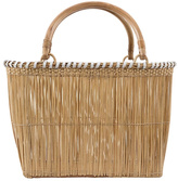 Serpui Marie Wicker Leather Trim Basket