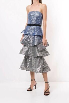 Marchesa Notte Strapless Sequin Ombre Midi Dress