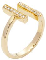 14K Yellow Gold & 0.06 Total Ct. Diamond Sylvie Rose Double Bar Ring