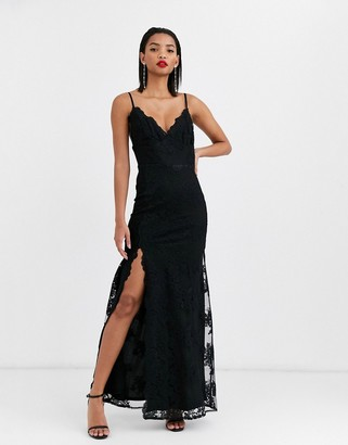 City Goddess satin knot front halter neck maxi dress