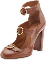 Chloé Buckle-Front Leather Pump, Ochre Delight