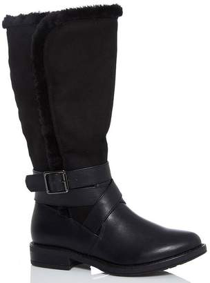 Quiz Black Faux Fur Trim Calf Boots