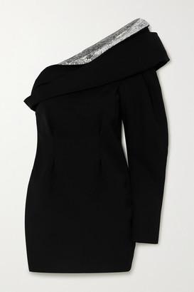 Isabel Marant Lidia One-shoulder Draped Sequin-embellished Wool Mini Dress - Black