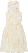 Fendi Floral-appliquéd Embellished Cloqué Mini Dress - Cream