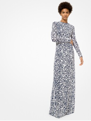 Michael Kors Floral Embroidered Stretch-Tulle Gown