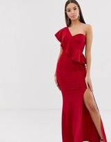 Club L London one shoulder ruffle maxi dress
