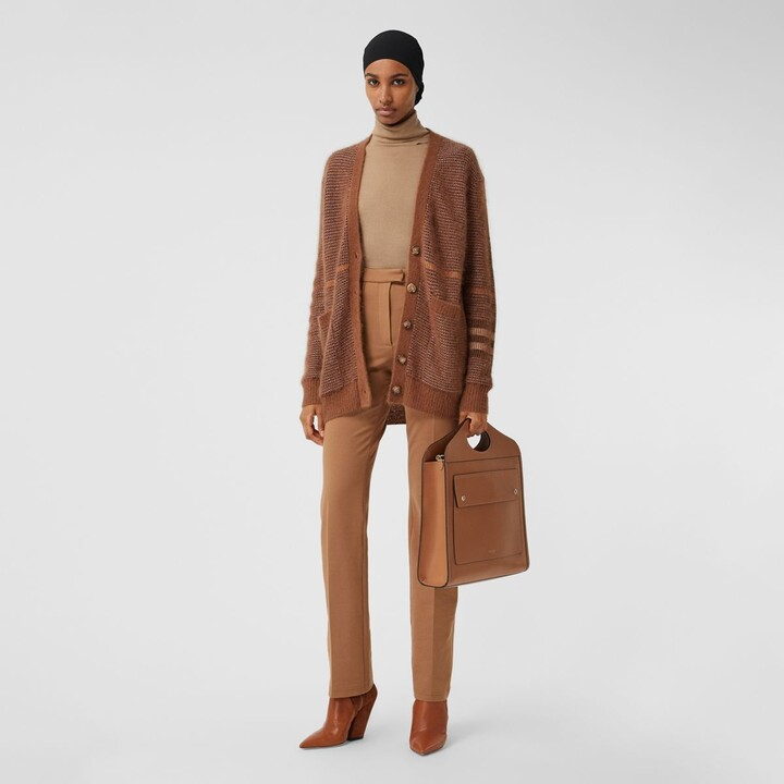 Burberry Check Wool Mohair Silk Blend Cardigan