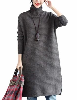 Youlee Women's High Neck Side Slit Jumper Dress Black