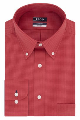 Izod Men's Dress Shirt Regular Fit Stretch Check