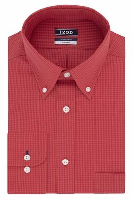 Izod Men's Dress Shirts Regular Fit Stretch Gingham