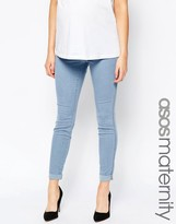 Asos Rivington Denim Jeggings in Candy Light Blue with Turn Ups With Under The Bump Waistband