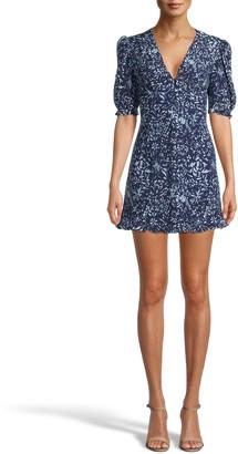 Nicole Miller Evening Garden Ruffle Sleeve Mini Dress