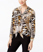 Thalia Sodi Printed Tie-Front Blouse, Only at Macy's