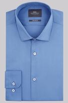 Moss Bros Extra Slim Fit Blue Single Cuff Stretch Shirt