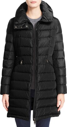 Moncler Flammette Water Repellent Long Hooded Down Coat