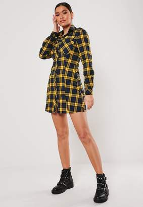 Missguided Mustard Check A Line Shirt Dress