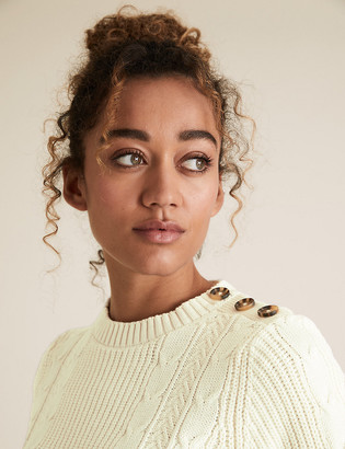 Marks and Spencer Cotton Cable Knit Crew Neck Jumper