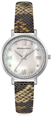 BCBGMAXAZRIA Classic Stainless Steel Python-Embossed Leather-Strap Watch