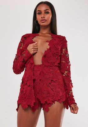 Missguided Red Co Ord Crochet Lace Shorts