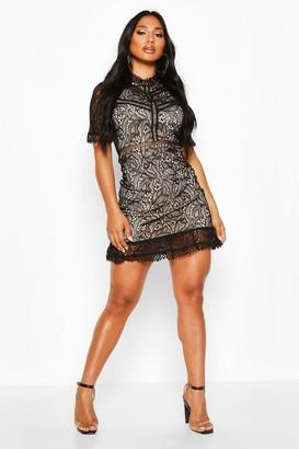 boohoo Lace High Neck Short Sleeved Mini Ruffle Dress