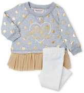 Juicy Couture Infant Girls) Two-Piece Grey Foil Dot Pullover & White Leggings Set