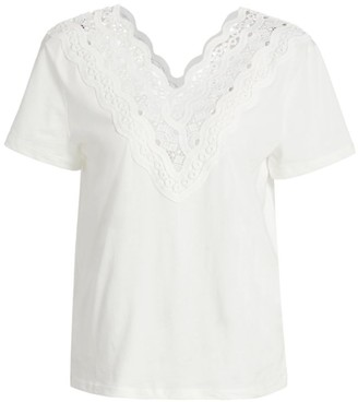Sandro Anais Lace-Trim T-Shirt