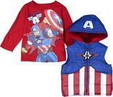 Children's Apparel Network Captain America Tee & Hooded Vest - Toddler & Boys