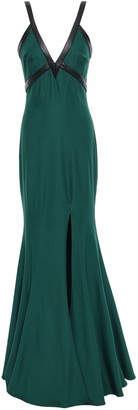 ZAC Zac Posen Faux Leather-trimmed Stretch-crepe Gown