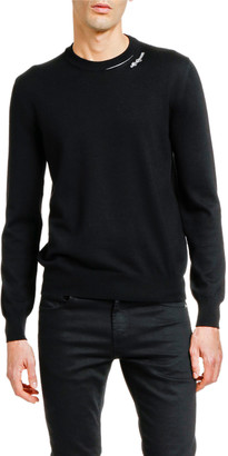 Alexander McQueen Men's Solid Crewneck Sweater w/ Slashed Neck