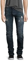 Pierre Balmain Skinny-Fit Distressed Biker Denim Jeans, Blue