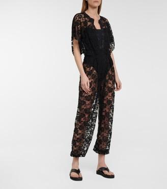 Norma Kamali Floral stretch-lace jumpsuit