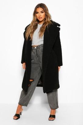 boohoo Petite Long Teddy Faux Fur Coat